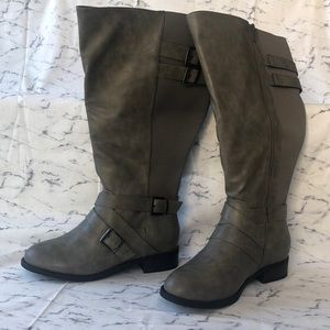 Gray Faux Leather Buckle Boot